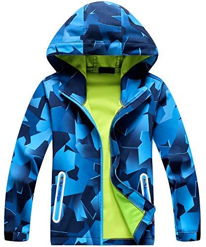 AOWKULAE Unisex Children Hoodie Jackets Zip Up Teen Hooded Coat & Raincoat, Blue, 9T-10T(9-10 Years)=Tag 150 (Camo Jackets For Teen Girls)