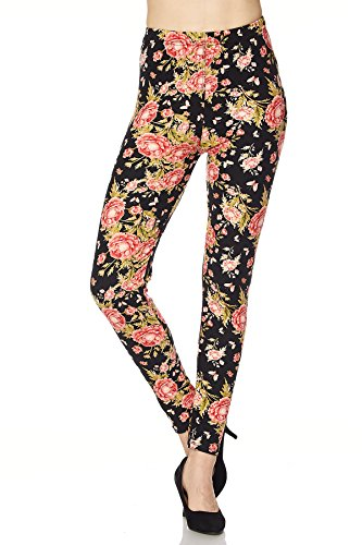Floral Print Leggings - New Mix Women's Floral Print Brushed Ankle Leggings Size: One Size Fit (N228)