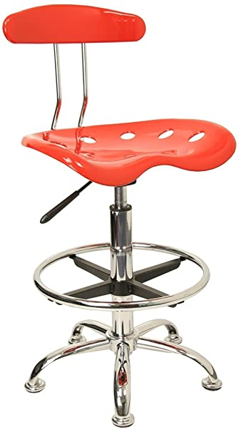 Flash Furniture Vibrant Red and Chrome Drafting Stool with Tractor Seat  sc 1 st  Amazon.com & Amazon.com: Flash Furniture Vibrant Red and Chrome Drafting Stool ... islam-shia.org