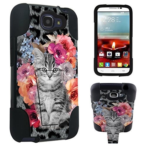 DuroCase Alcatel OneTouch Fierce 2 7040T / POP Icon A564C (2014 Released) Kickstand Bumper Case - (Rose Cat) (Alcatel One Touch Fierce Prepaid Cell Phone)
