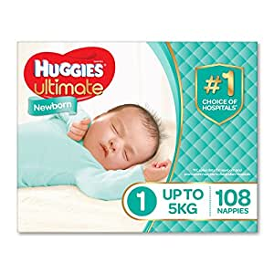 Huggies Ultimate Nappies, Unisex, Newborn Size 1 (Up To 5kg) ,108 Count