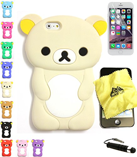 Bukit Cell Bundle: Cream 3D Teddy Bear Soft Silicone Case for 4.7 Inch Iphone 6s / Iphone 6[ NOT for Iphone 6 plus ] , Cleaning Cloth , Screen Protector , Metallic Stylus Touch Pen