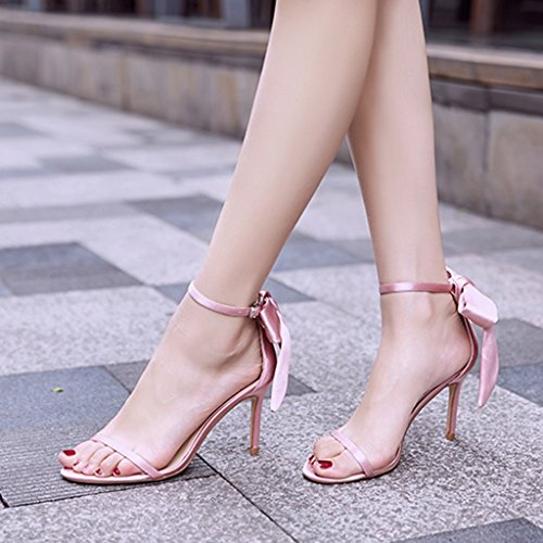 student shoes heels sandals Champagne casual sexy Color 8 fine with Size bows Pink 36 Women 5cm shoes high YEq0B
