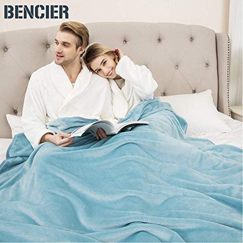 Bencier Flannel Solid Plush Shaggy Blanket Throw Lightweight Soft Microfiber Blanket (Ice Blue, 50