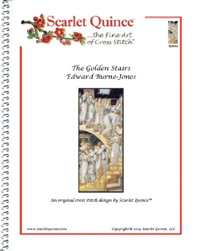 Golden Cross Chart - Scarlet Quince BUR003 The Golden Stairs by Edward Burne-Jones Counted Cross Stitch Chart, Regular Size Symbols