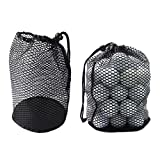 MarketBoss 2PCS Nylon Nets Mesh Pouch Bag 48 Golf Tennis Balls Carrying Holder Storage with Spring Buckle