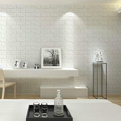 "Yanqiao 23.6x23.6""x1Pcs 3D DIY Imitation PE Foam Brick Pattern Wallpaper Soft Pack TV Sofa Background Living Room Bedroom Study Room Office Home Decoration,White"