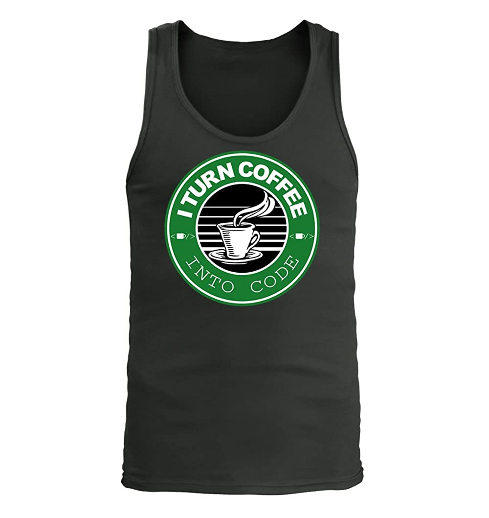 I Turn Coffee into Code #336 Adult Mens Tank Top