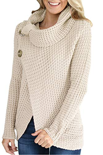 HSRKB Womens Fall Sweaters Oversized Wrap Pullover Knit Cowl Neck Sweater 2c0a743b5