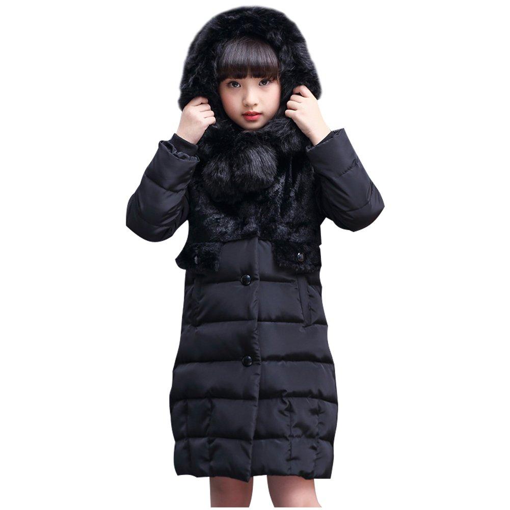 FREE FISHER Big Girls' Winter Parka Long Down Coat Coat Fur Hood, Black, 12-13T/160 E27U16ER271F2
