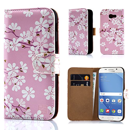 Samsung A517 Protector Case Cover (32nd Floral Design Leather Wallet Case for Samsung Galaxy A5 (2017), Designer Flower Pattern Wallet Style Case Cover With Card Slots - Cherry Blossom)