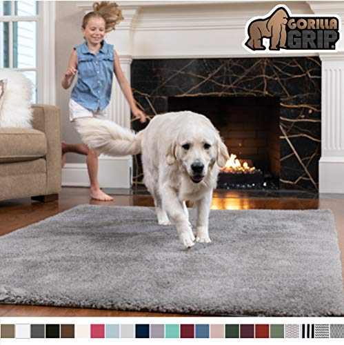 Gorilla Grip Original Faux-Chinchilla Rug, 7.5x10 Feet, Super Soft and Cozy High Pile Washable Carpet, Modern Floor Rugs, Luxury Shaggy Carpets for Home, Nursery, Bed and Living Room, Dark Gray