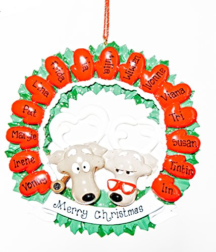 Personalized Christmas Ornament - 15 Mitten Wreath - Free Names Added, Shipped Next Day