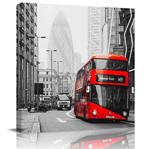 Square Wall Art Painting Pictures Print On Canvas Art The Picture Home Collection,Red Bus On The Streets of London Artwork for Wall Decor,Stretched by Wooden Frame,Ready to Hang,28x28 Inch]()