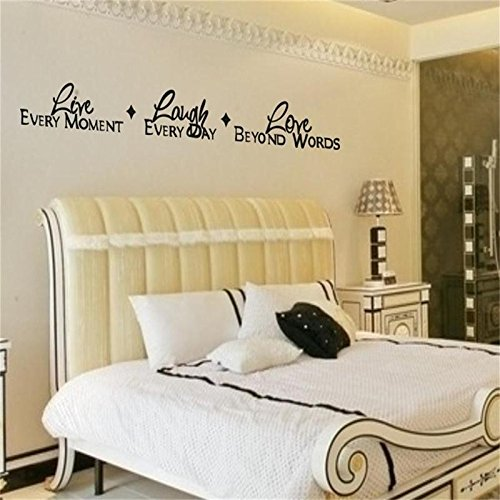 trfhjh Quotes Wall Sticker Home Art Live Every Moment Lough Every Day Love Beyond Words 8018. Vinyl Lettering Quotes Bedroom Wall Stickers Decor Home Decal ArtFor Bedroom Living Room Kids Room
