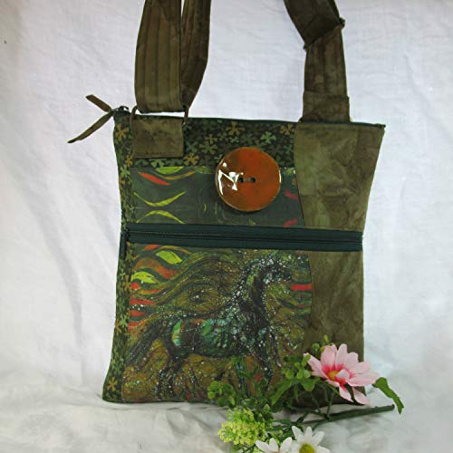 Quilted Cotton Cross-Body Purse - Original Batik Horse by Carol Law Conklin in Greens with Orange Accents