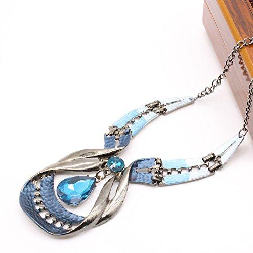 Merssavo Lot de Parure Collar y Pendientes Colgante Cristal Agua Azul Gota Estilo Joyas para Mujer Chica