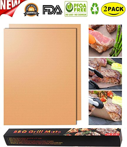 ZCHING Copper Grill Mat-100% Non-stick BBQ Grill & Baking Mats ,Reusable and Easy to Clean,Reusable for Gas/Charcoal/Electric Grill- 1575 x 13 Inch(Set of 2)