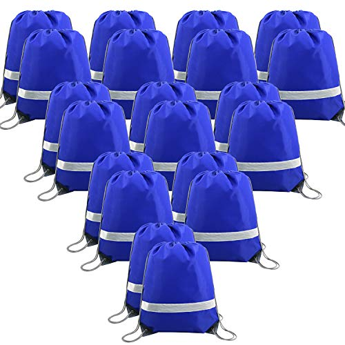 20 Pieces Blue-Drawstring-Backpack-Bags Bulk Reflective Cheap Gym Sack Pack Sports Cinch Bag