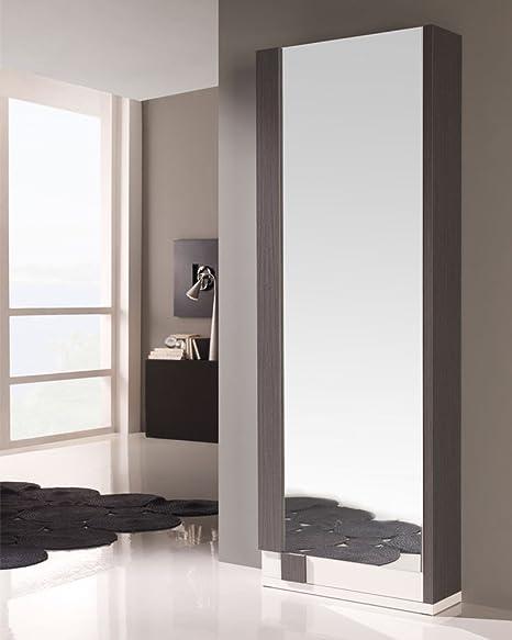 Tousmesmeubles Meuble A Chaussures Blanc Cendre Miroir Siya L 70 X L 24 X H 197 Neuf Amazon Fr Cuisine Maison