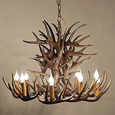 9 Head Antlers Retro Industrial Wood Style Creative Retro Pendant Light Vinatge Chandeliers Lighting Fixtures For Dining Room Living Room Bedroom Bar Cafe Restaurant 90V-240V-YP695