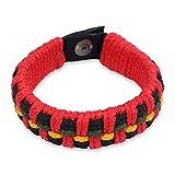 NOVICA Brass Plastic Men's Wristband Bracelet, 8.5'' 'Red Ananse Web'