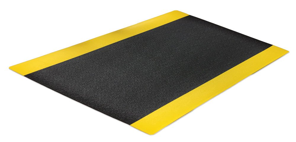 Comfort Step 3/8'' Anti-Fatigue Mat with Pebble Emboss, Black with Yellow Border, 3' x 12'