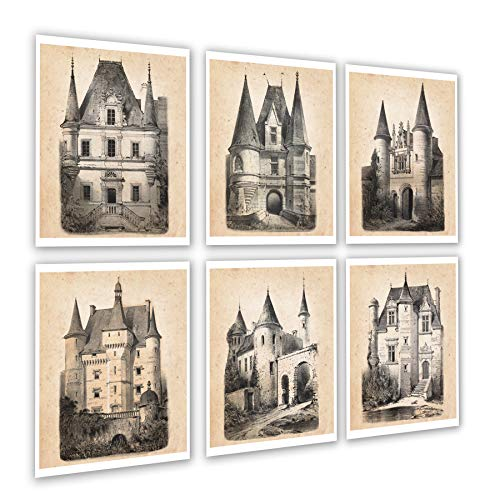 (Fairy Tale Nursery Decor Set of 6 Unframed French Chateau Architecture Drawings French_Chateau6A)
