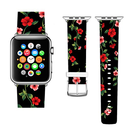 Apple Watch Band 42mm, Replacement Band Genuine Leather Iwatch Strap With Silver Metal Clasp For iWatch 42mm The Red Flowers Pattern