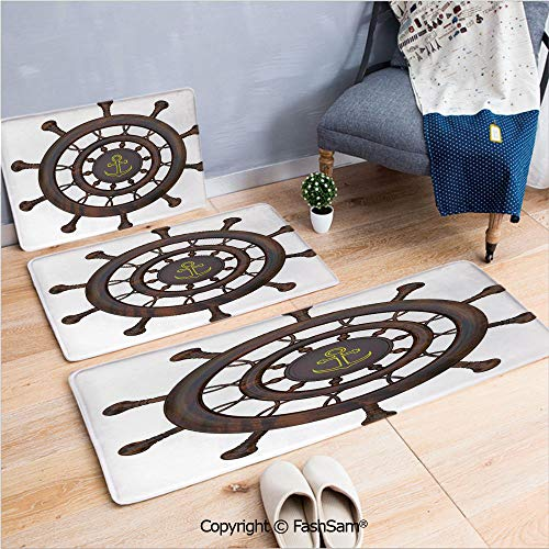 FashSam 3 Piece Non Slip Flannel Door Mat Wooden Steering Wheel of The Ship with Anchor Pattern History Antiques Rustic Decor Indoor Carpet for Bath Kitchen(W15.7xL23.6 by W19.6xL31.5 by W35.4xL62.9)