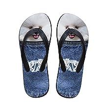 ZHOUZJ Flip Flops for Women Summer Beach Female Non-Slip Flipflops 3D Print Home Slippe