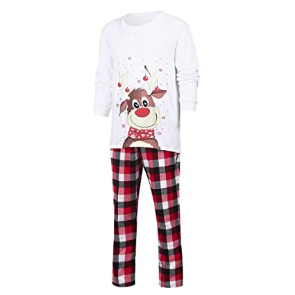 80cc8983b4 Image Unavailable. Image not available for. Color  Franterd Christmas  Family Matching Pajamas Set Lovely Xmas Deer Top + Plaid Pants ...