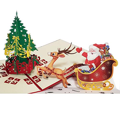 Christmas Pop up Card Santa Sleigh Tree 3D Elk Christmas Card for Kids Family Friend Funny Greeting Card Holiday Gift Xmas Decoration Set of 2