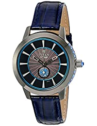 Titan Women's 'HTSE Self Energizing' Quartz Stainless Steel and Leather Automatic Watch, Color:Blue (Model: 2523QL01)