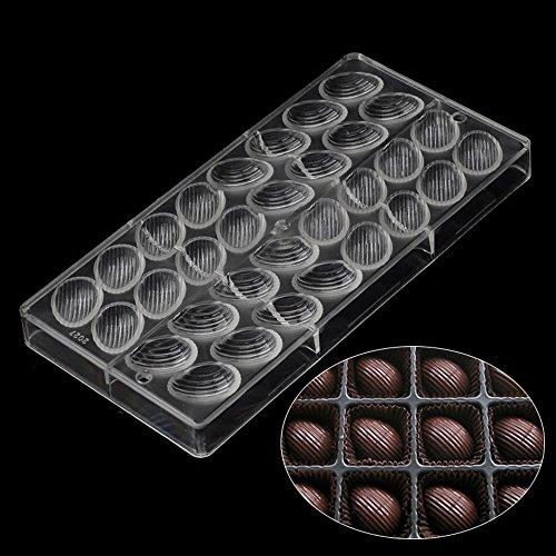 Grainrain 3D Egg Thread Surface Food Grade Clear Polycarbonate Plastic Hard Chocolate Mold