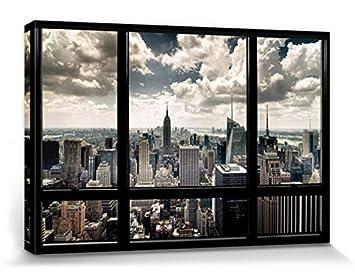 New York Leinwandbild ~ 1art1 67794 new york fenster mit ausblick auf die skyline poster