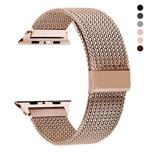 RXCOO Compatible for Iwatch Band, 38mm/40mm 42mm/44mm, Stainless Steel Milanese Loop Magnetic Band Compatible with Iwatch Series 4/3/2/1 (Rose Gold, 38mm/40mm) ()