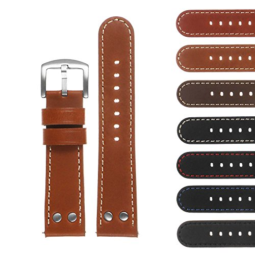 DASSARI Pilot Quick Release Leather Watch Band Strap w/Rivets 18mm 20mm 22mm 24mm - Strap Rivet