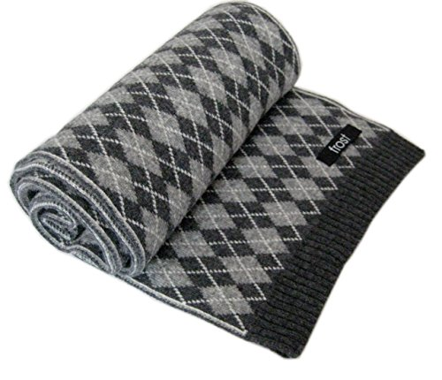 Frost Wool & Cashmere Scarf Classic Argyle Pattern Warm Winter Scarf Gray