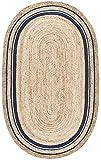 Stone & Beam Contemporary Rikki Border Jute Rug, 5′ x 8′, Navy For Sale