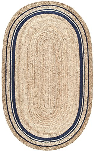 Stone & Beam Contemporary Rikki Border Jute Rug, 5′ x 8′, Navy For Sale