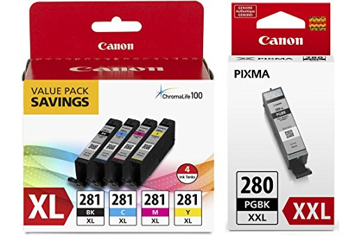 Canon CLI-281 XL BKCMY 4-Color Ink Tank Value Pack (2037C005) + Canon PGI-280 XXL Pigment Black Ink Tank (1967C001) ()