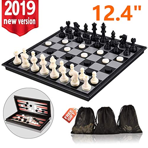 3-in-1 Chess Set - Travel Chess Set Magnetic Chess & Checkers & Backgammon Folding Chess Board Game, Portable Checkers with 3 Mesh Bags, Best Chess Games Gift for Kids and Adults 12.4 Inches ()