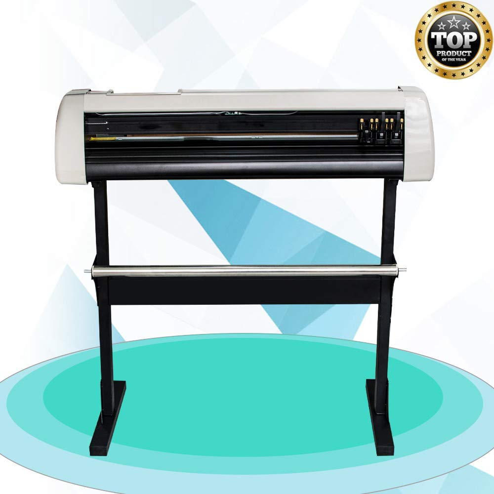 Denshine Vinyl Cutter, 28 Inch Plotter Machine 720mm Paper Feed Vinyl Printer Cutter Machine Cutting Plotter Machine Software Sign Making Machine with Stand- US Shipping, 3-6D Delivery