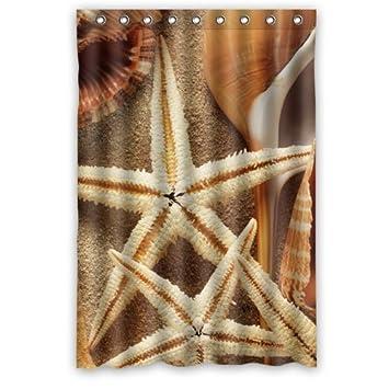 Home Dekoration Badezimmer Dusche Vorhang Sommer Muscheln Starfishes Sand  Beach Wasserdicht 121,9 X 182