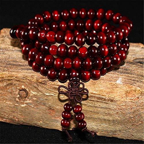 YASEF Bracelet Natural Sandalwood Buddhist Buddha Wood Prayer Beaded Knot Black Ebony Unisex Men Bracelets & Bangles for Women