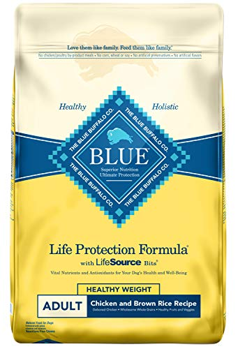 Blue Buffalo Life Protection Formula Healthy Weight Dog Food - Natural Dry Dog Food for Adult Dogs - Chicken and Brown Rice - 30 lb. Bag (Brown Rice In Dog Food Good Or Bad)