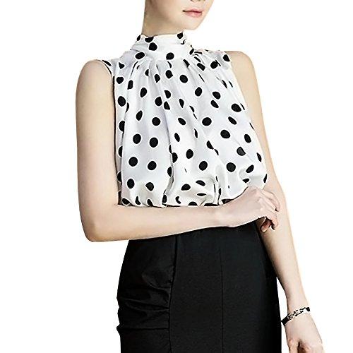 (Polka Dot Sleeveless Elegant Shirt Blouse Top for Womens (L, TC09-White))