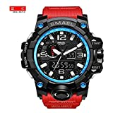 Mens Large Dual Dial Analog Digital Quartz Sport Watch Multifunction Two Timezone 24H Military Waterproof Casual Back Waterproof Date LED Display (Black-Blue-Red)