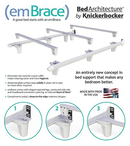 Amazon.com: Knickerbocker Embrace Bed Frame in White - Queen Size ...